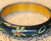 New smooth handpainted wood bangle leafy green flowers lightweight trendy ethnic