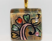 Glass tile Sparkling Pendant square 1 inch with gold green glittering vine design necklace with chain Go Green