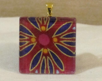 Large 1 3/8 square glass tile pendant hot pink and gold flower petals print necklace
