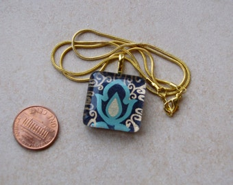 New one of a kind glass tile Japanese chiyogami print square 1 inch with dark navy blue gold floral motif necklace with chain Go Green