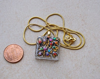 Gold multi colored glass tile Sparkling Pendant square 1 inch clear glittering dots design necklace chain
