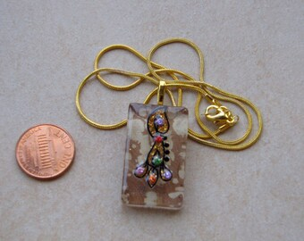 New one of a kind glass tile Sparkling Pendant 1 1/4 inch rectangle w marbled tan and gold glittery dots design necklace with chain Go Green