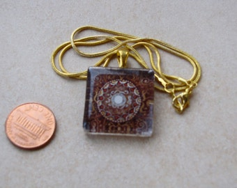 New one of a kind glass tile maroon gold medallion print square 1 inch with deep maroon pink flower necklace with chain