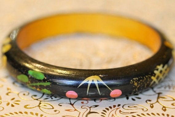 New smooth handpainted wood bangle black with green, orange, yellow dots leaves vines lightweight trendy ethnic