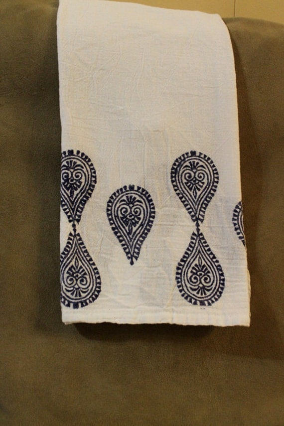 One of a kind 100% cotton flour sack tea towels w dark navy blue block printed medallion design 28X30 inches