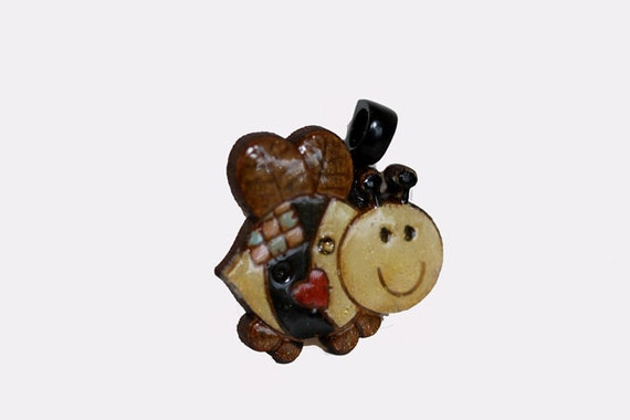 Cute little hand painted yellow black honey bee bumble bee wooden wood pendant smooth shimmery glossy w chain necklace black bail