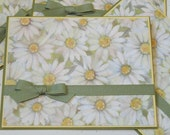 Set of 4 Blank Notecards, Daisies, Green and Yellow,  Handmade, Handcolored, Greeting Card