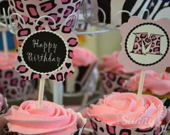 "Leopard Print/ Zebra print spa party/ slumber party printable 2"" cupcake toppers"