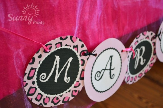 Pajama Glam (leopard print) printable party banner