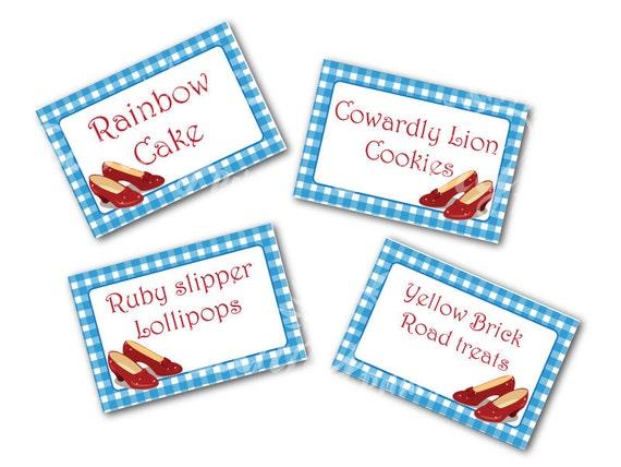 Dorothy/ Ruby slipper printable tent food labels