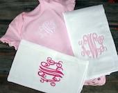 Monogrammed Baby Set Monogrammed baby girl pink Onesie and 2 coordinating cloth diaper burp cloth set