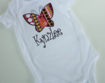 Personalized Monogrammed Butterfly Appliqued baby girl onesie