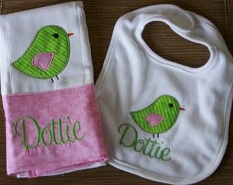 Baby girl Set Personalized Monogrammed Sweet Tweet Bird Appliqued baby girl Bib with coordinating burploth