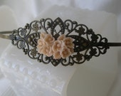Vintage style flower headband - Antique brass headband - Ivory headband- Filigree headband- Cream headband - Spring Fashion