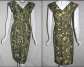 1950s Wiggle Dress, Atomic Starburst Rhinestone Muted Yellow Gray in a size Xsmall, Small