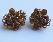 Vintage Vendome Earrings, Amber Glass Beads and Rootbeer Rhinestones in Goldtone Clip Earrings