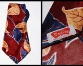 Vintage 1930s Wembley Tie, Maroon Navy Leaves Swing Tie