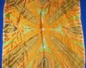 Vintage Vera Neuman Scarf, 1960s Ladybug Mod orange acetate scarf,   26 x 26