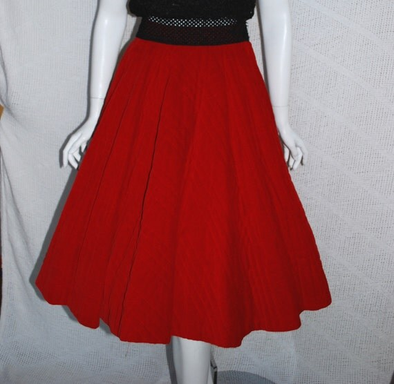 1950s Red Circle Skirt, Cherry Red Quilted Velveteen and a true Full Circle,  XSmall  Small