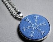 Snowflake: Embroidered Pendant (Light blue on blue)