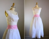 RESERVED .. Vintage 1950s Pale Pink Princess Dress .. Size Small