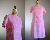 Vintage 1960s Pink Plaid Scooter Dress .. Size Medium