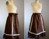 Vintage 1970s Ikat Print Skirt .. Size Large