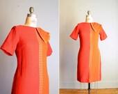 Vintage 1960s Orange Wool Minx Modes Scooter Dress .. Size Medium