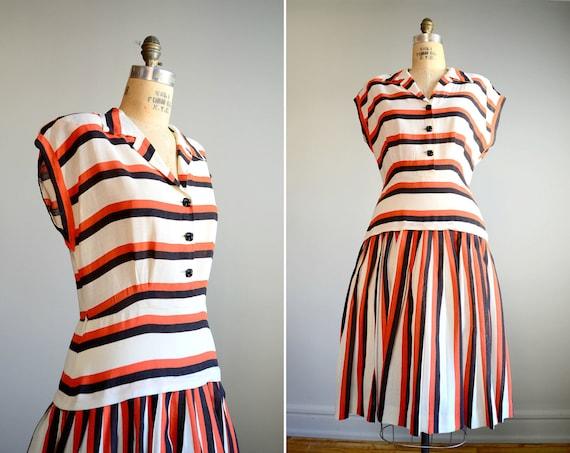 Vintage 1940s Orange and Black Striped Day Dress .. Size Large