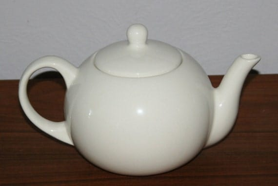 Retro Vintage Mid Century Modern Dansk Porcelain White China  56 Ounce Teapot with Lid