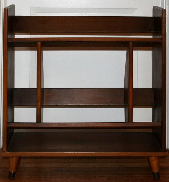 Mid Century Modern Small Wooden Walnut Book Case - Modern Storage Retro DVD / Record Shelf display cabinet