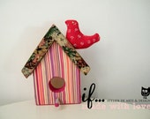 Decorative Birdhouse lined in vintage fabric
