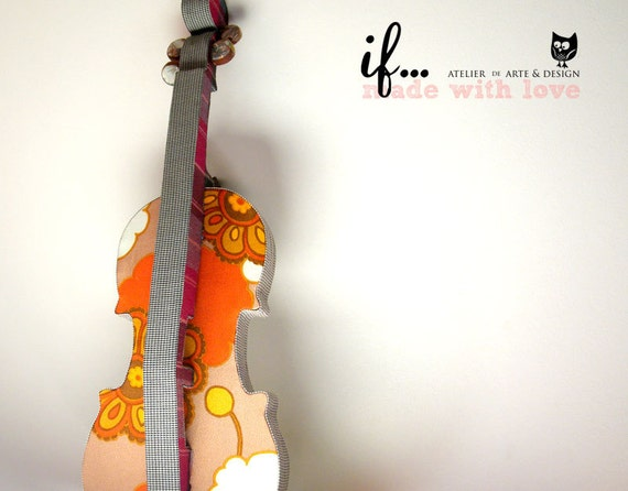 Decorative Violin lined in vintage fabric