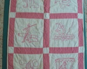 """RESERVE for ROXIE Quilt nursery rhymes wall hanging  hand quilted  cotton vintage bark cloth back  time-span  1940-1990   21.25"""" x 32"""""""