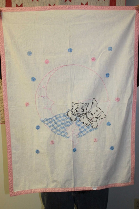 Vintage napping kitty and puppy  crib sheet