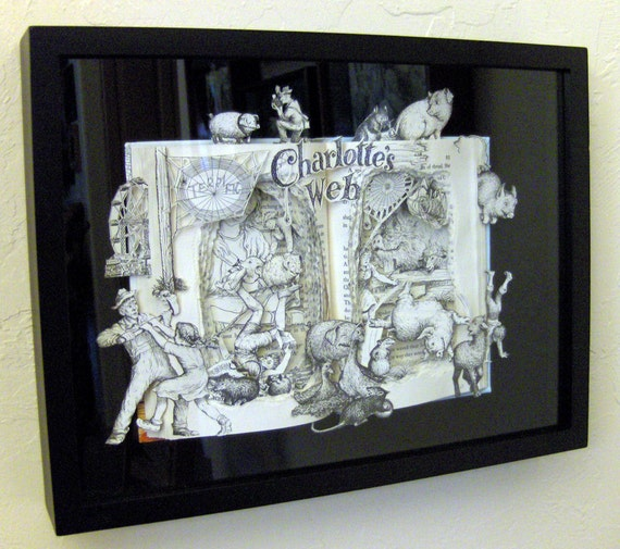 Charlotte's Web - One of a Kind Book Sculpture - Altered Book - FRAMED - Free Shipping