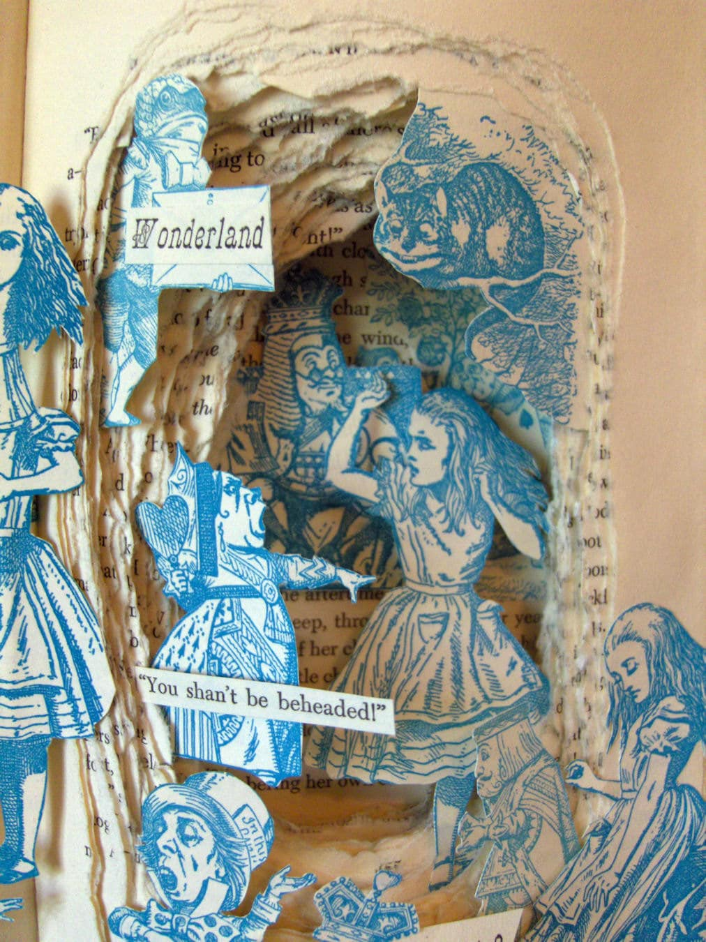 Alice In Wonderland One Of A Kind Book Sculpture By Artfuliving