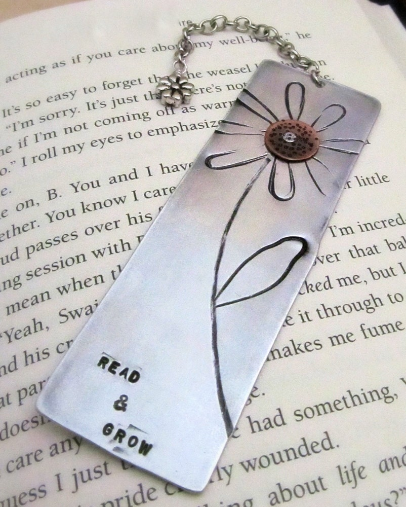 Mixed Metal Bookmark Hand Stamped Flower With By