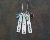 Vertical Bar Sterling Silver 3 Name Pendant