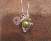 Single Pea Pod Silver Pendant with Initial Charm
