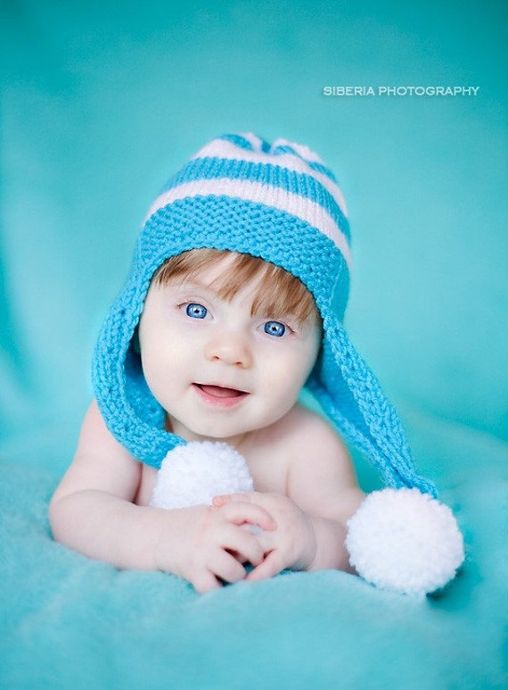 Baby blue knit hat 3-6 months