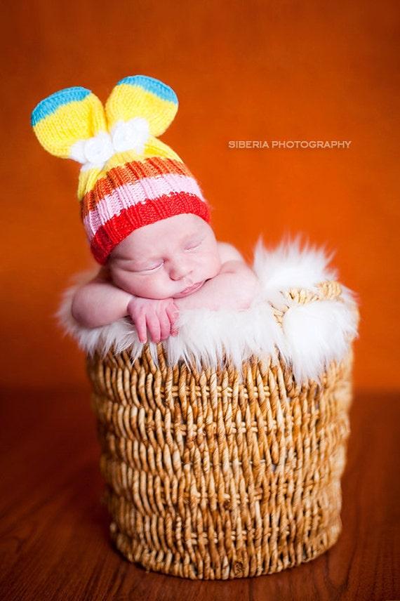 Colorful bunny. Knit newborn hat.