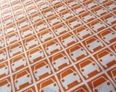 Destash Large Piece 113cm x 36cm Orange Small Car Park Print 100% Cotton Fabric