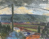 Gray dark morning  - original landsccape painting, pastel on paper,  24.5 X 34.5 cm ; 9.6 X 13.6 inch, Shirley Kanyon
