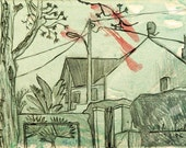 Neighbors' house - original plein air urban landscape drawing, pencil and ink on paper, 18 X 25 cm ; 7.1 X 9.8 inch, Shirley Kanyon