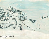 Snow time - original landscape painting, egg tempera on paper, 16.5 X 20 cm ; 6.5 X 7.9 inch, Shirley Kanyon