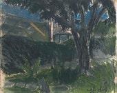 The pecan tree at night - original landscape drawing, Shirley Kanyon