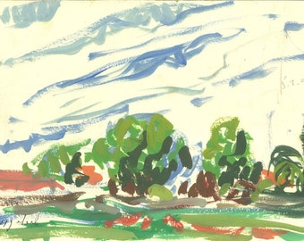 February fields 2008 - original landscape painting, egg tempera on paper, 25.5 X 32.5 cm ; 10 X 12.8 inch, Shirley Kanyon