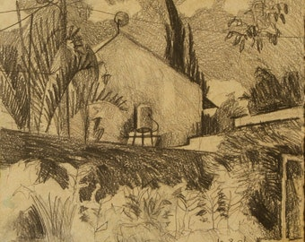 Neighbors house on a summer day - original Plein air drawing, pencil and resin on paper, 23.5 X 27 cm ; 9.3 X 10.6 inch, Shirley Kanyon