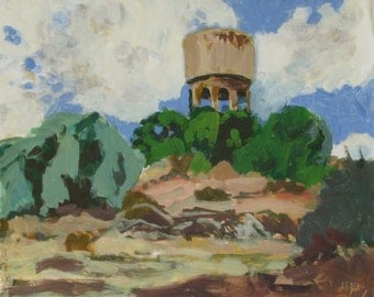 The old water tower - original plein air landscape painting, egg tempera on paper, 42 X 50 cm ; 16.5 X 19.7 inch, Shirley Kanyon